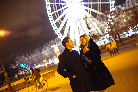 romantic winter paris proposal