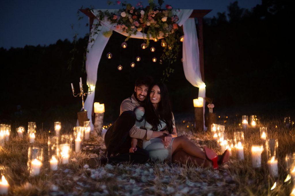 romantic vineyard proposal candlelight